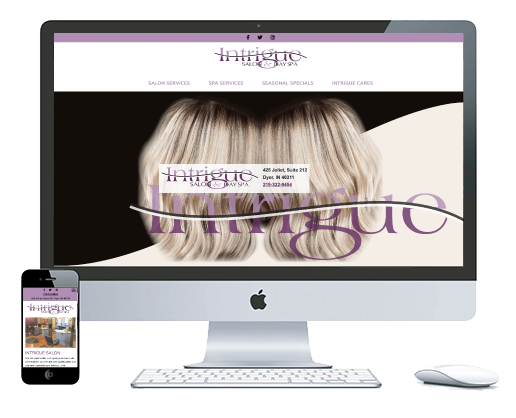 northwest indiana website design Intrigue Salon & Day Spa Salon and Spa Services cms theme