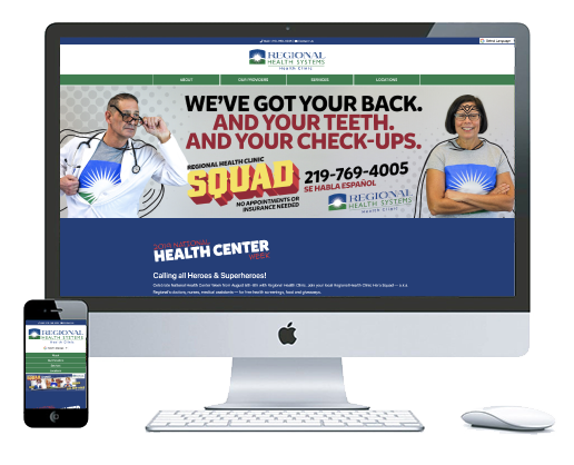 northwest indiana website design Regional Health Clinic Health Care custom cms
