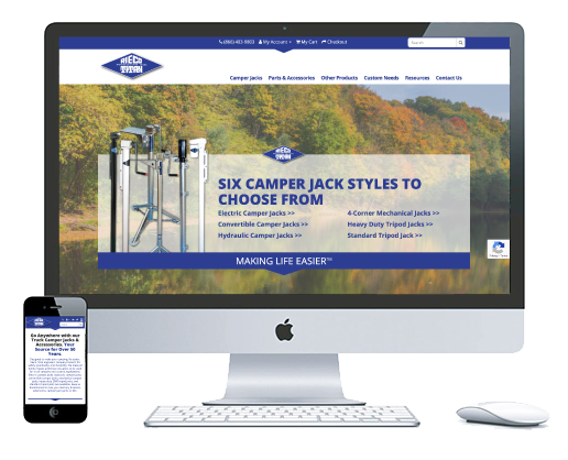 northwest indiana website design Rieco-Titan Products E-Commerce Truck Camper Jacks & Accessories Store ecommerce custom cms