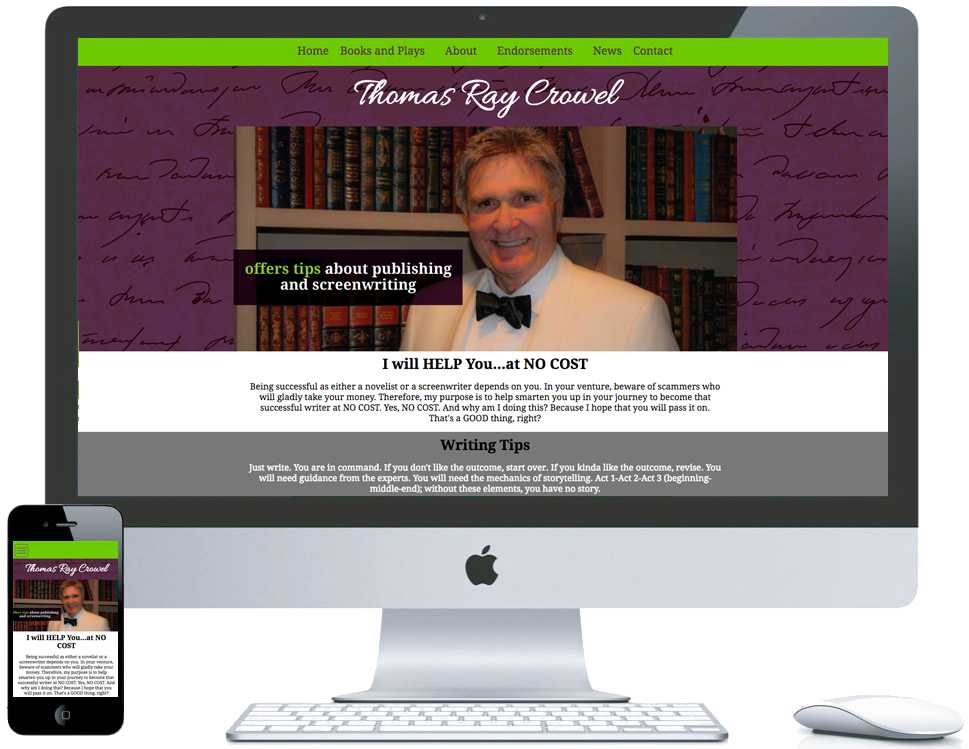 northwest indiana website design Thomas Ray Crowel Writer and Mentor ecommerce