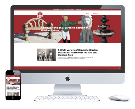 northwest indiana website design Camille's Studio Concrete Garden Statues cms theme