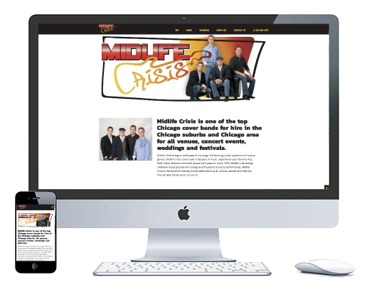 northwest indiana website design Midlife Crisis Regional Cover Band cms theme