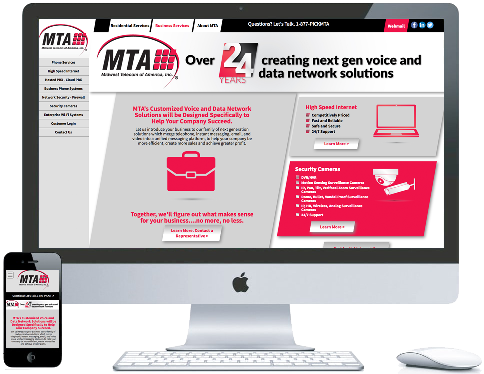 northwest indiana website design MTA Midwest Telecom of America  Telecom Service Provider custom cms