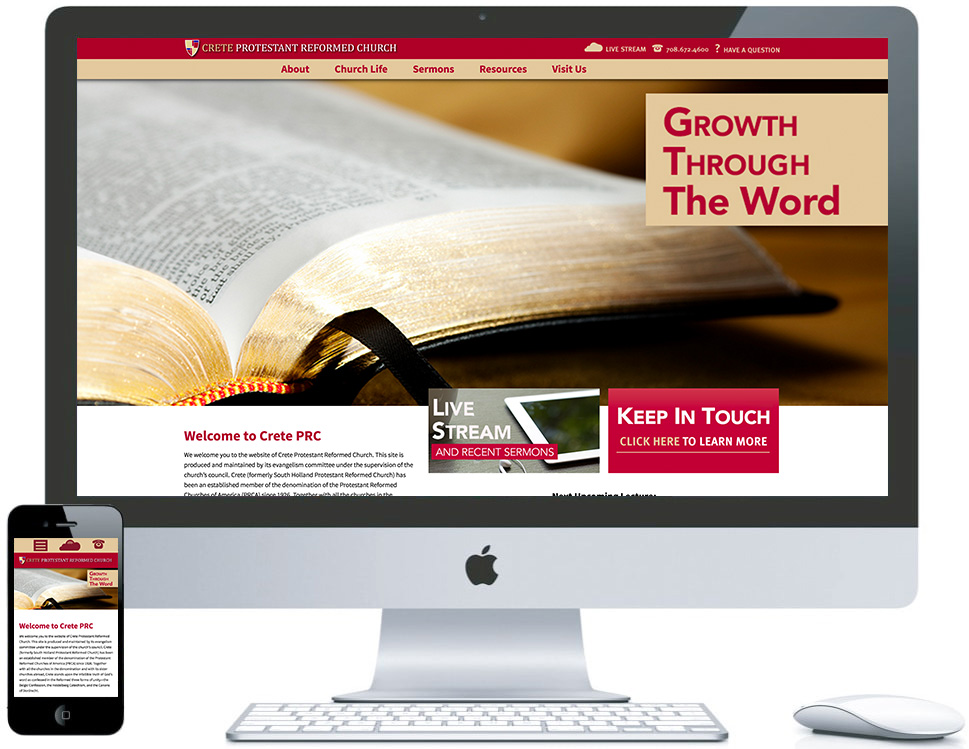 northwest indiana website design PRC Crete Church Organization responsive cms