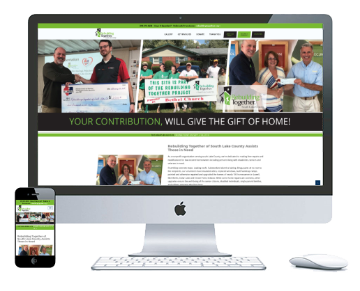 northwest indiana website design Rebuilding Together of South Lake County Nonprofit Home Repair cms